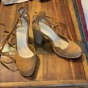 Seychelles Shoes - 70s style suede lace up heels